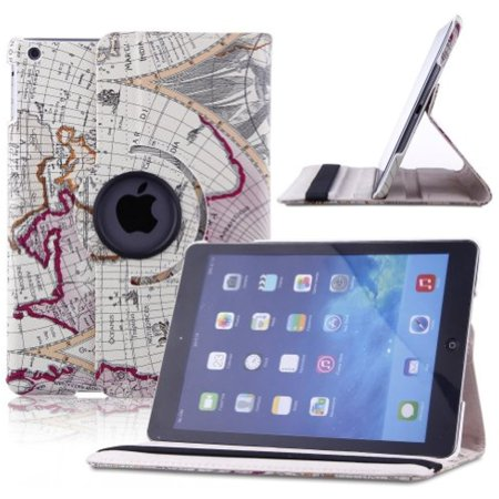 Creeracity New Map Design Auto Sleep Wake Function 360 Degree Rotating Smart Case Cover For Ipad Air 2 Gen Generation    Supports Auto Wake Sleep Function  With Free Stylus   Purple