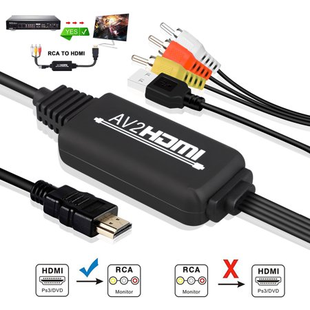 RCA to HDMI Converter, Gaxiog AV to HDMI Adapter, 3RCA CVBS Composite to Audio Video Converter Supporting PAL NTSC 1080P for WII, WII U, PC Laptop, Xbox, PS3, PS4, TV STB, VHS VCR Camera DVD