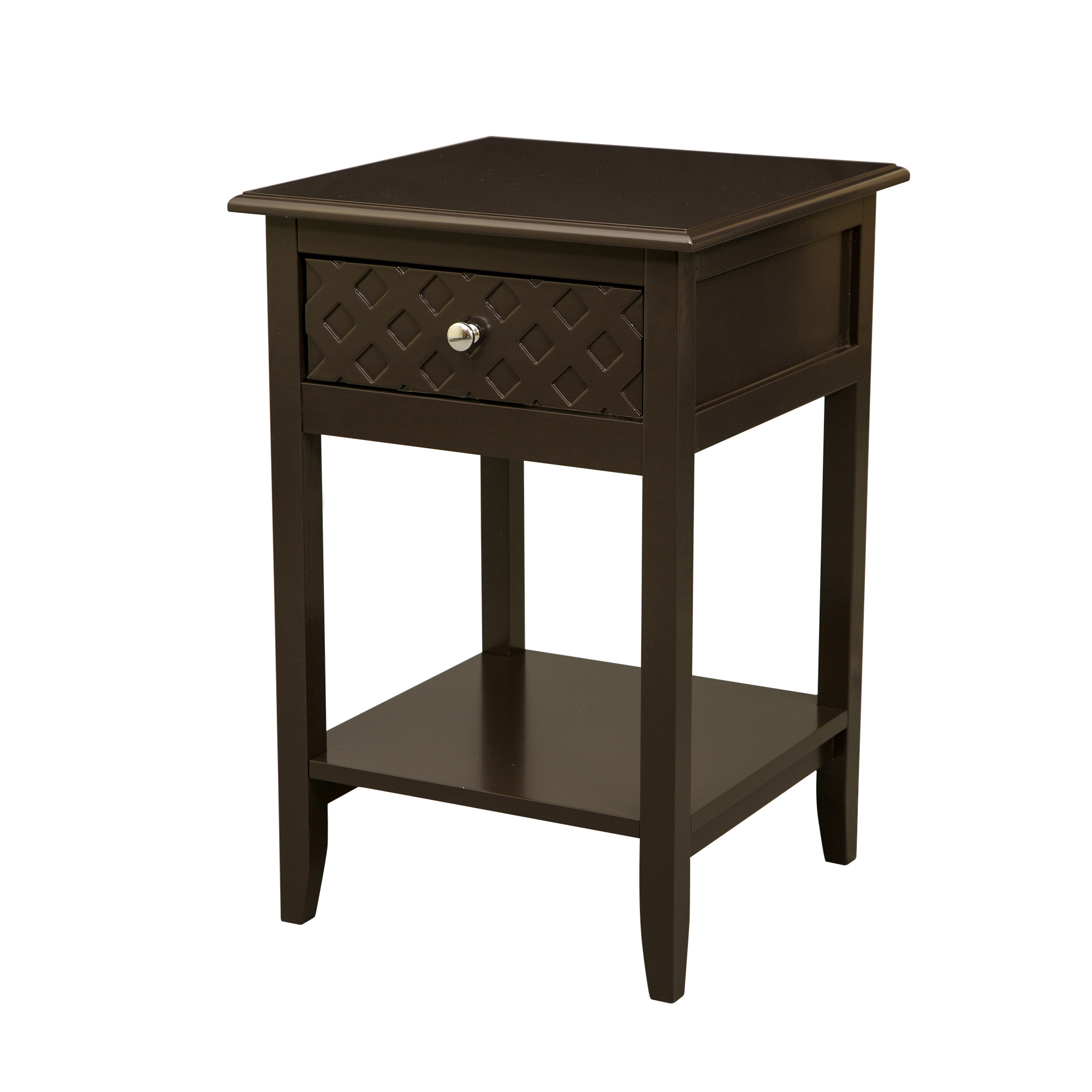 Glitzhome Square Frame Espresso Wooden End Table With