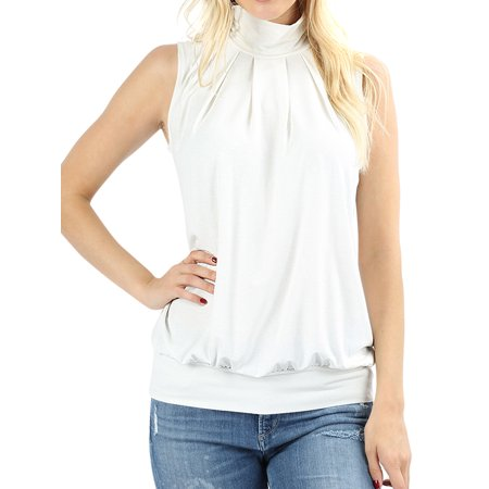 Women Sleeveless Mock-TurtleNeck Pleated Top with Waistband
