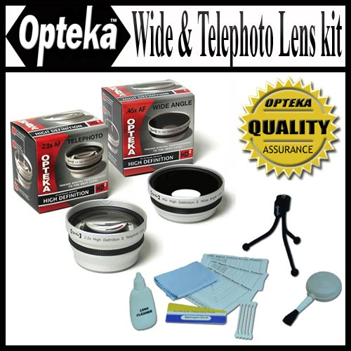 Opteka 0.45x Wide Angle & 2.2x Telephoto HD2 Pro Lens Set for Canon PowerShot G5 G3 by Opteka