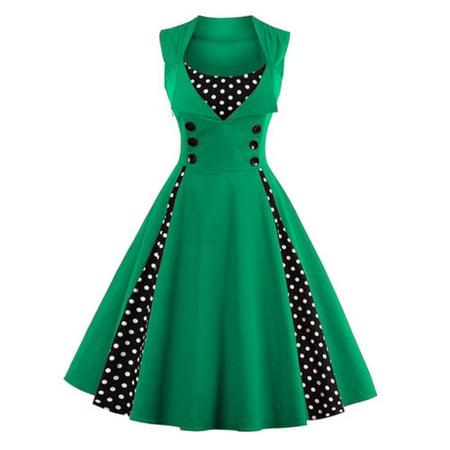 Plus Size Womens 50s 60s Vintage Retro Dress Swing ...