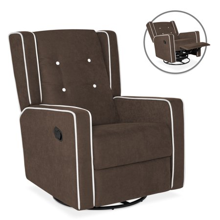 Best Choice Products Microfiber Tufted Mid-Century Upholstered Glider Recliner Lounge Rocking Chair with 360-Degree Swivel, Full Recline,