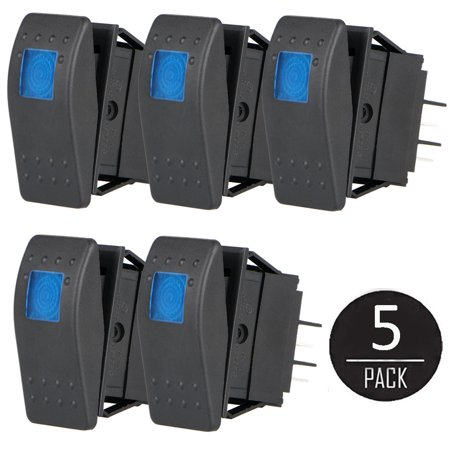 (5 Pack 4 Pin 12V 20A Car Boat Auto ON/OFF Rocker Toggle Switch Waterproof Blue LED Light)