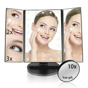 Lighted Makeup Mirror,Yosoo 22 Led Trifold Vanity Mirror with Lights, 3X 2X 1X Magnification Touch Screen 180 Degree Rotation, Removable 10X Cosmetic Spot Mirror as FREE GIFT