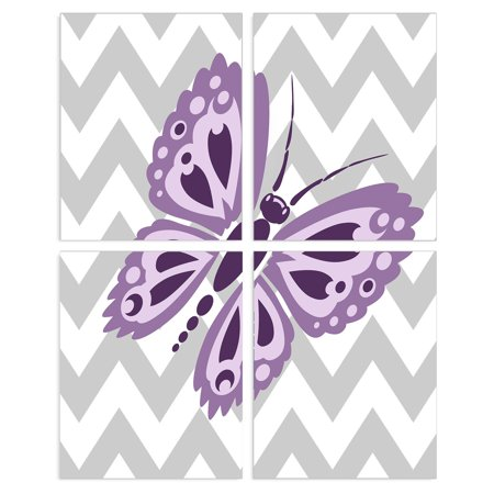 The Stupell Home Decor Collection Purple Butterfly Wall Plaque - Set of 4