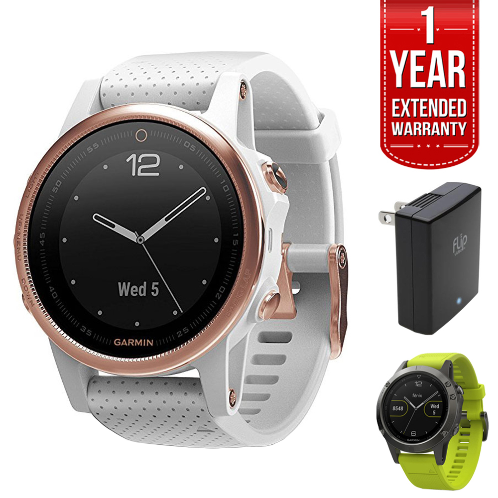 Garmin Fenix 5S 42mm Multisport GPS Watch - Rose Goldtone Sapphire with White Band (010-01685-16) + 1 Year Extended Warranty + Silicon Wrist Band - Green + Universal USB Travel Wall Charger