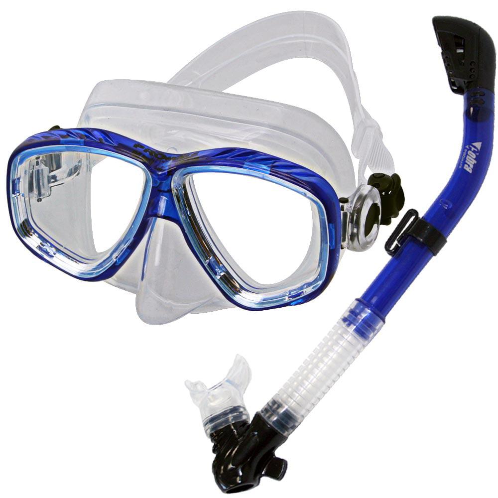 PROMATE Snorkeling Scuba Dive DRY Snorkel Mask Gear Set, Bk/Ti