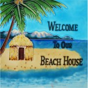 En Vogue B-175 Welcome to Our Beach House - Decorative Ceramic Art Tile - 8 in. x 8 in.