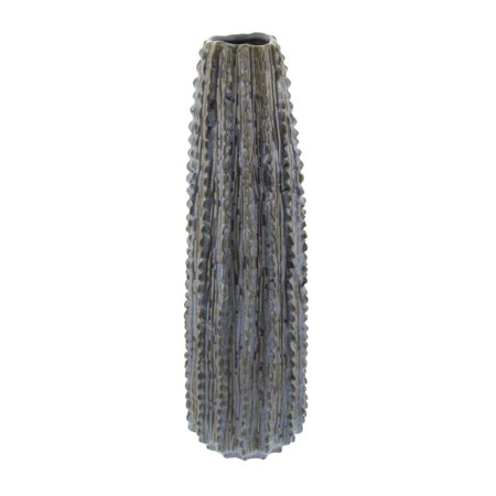 Ribbed Ceramic - Decmode Eclectic 20 inch textured ceramic ribbed cactus vase, Gray