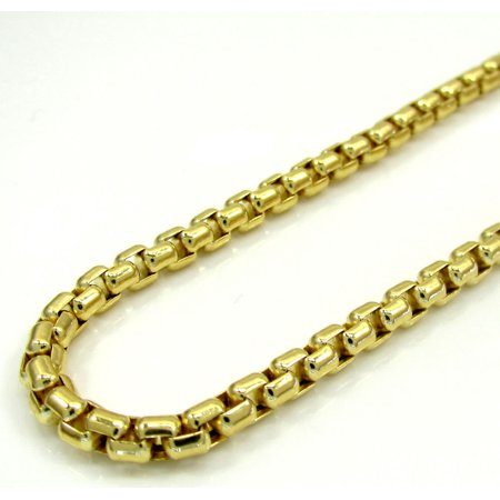 10K Yellow Gold Men Womens 3.5MM Venetian Box Chain Necklace Lobster Clasp 18 to 24 Inches (24) (Yellow Gold Venetian Box)