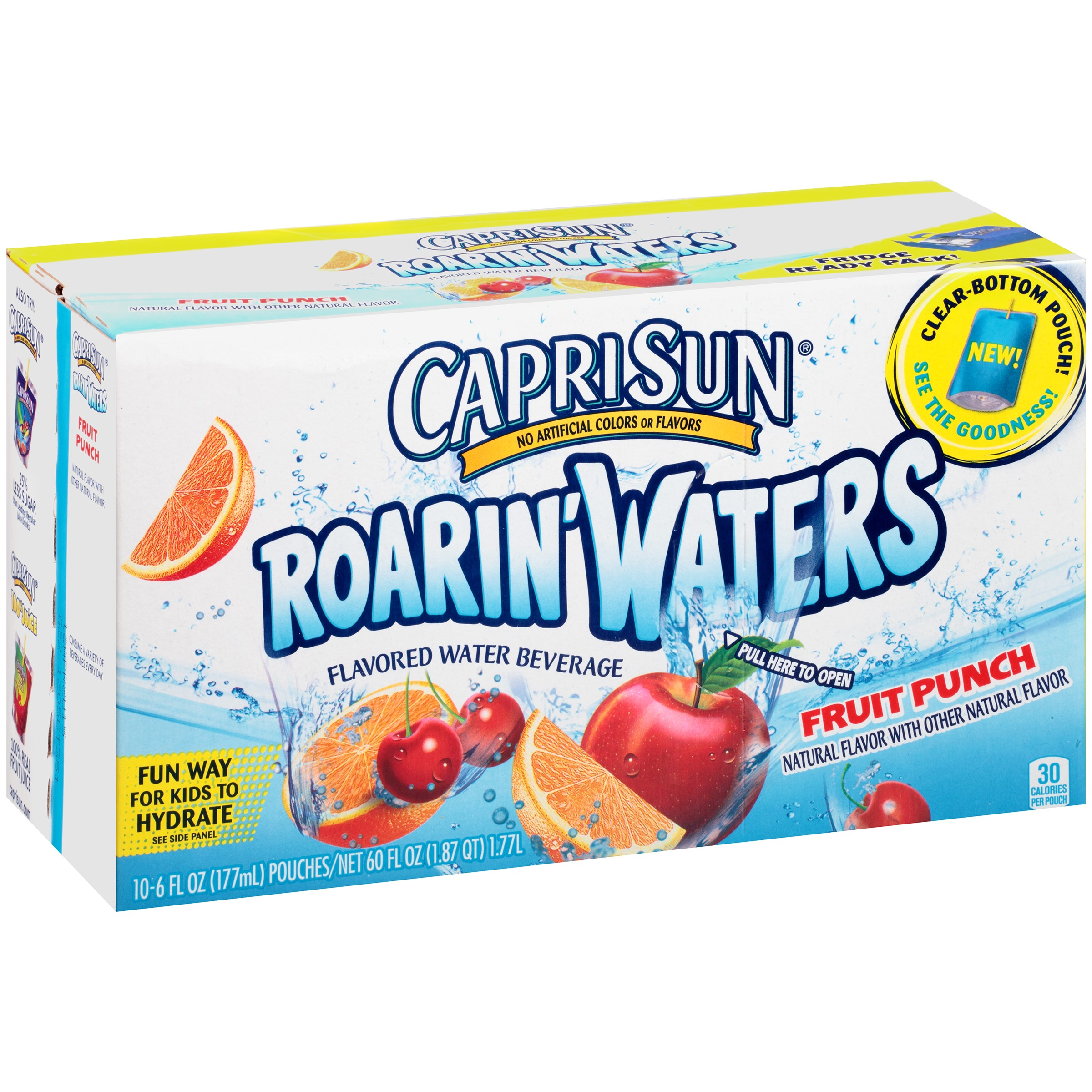 Capri Sun Roarin' Waters Fruit Punch Beverage, 10 count, 60 Fl Oz