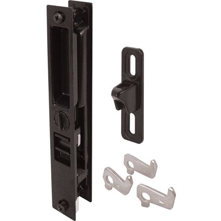 Prime-Line C 1123 Diecast Sliding Door Handle Set With Mid Body Hook, Black (Front Door Handle Black)