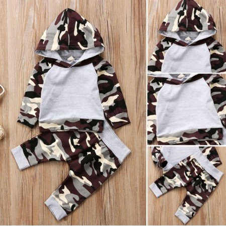 50 60 Outfits (Fashion 2Pcs Newborn Toddler Baby Boys Camo Hoodie Tops Pants Outfits Set Clothes)