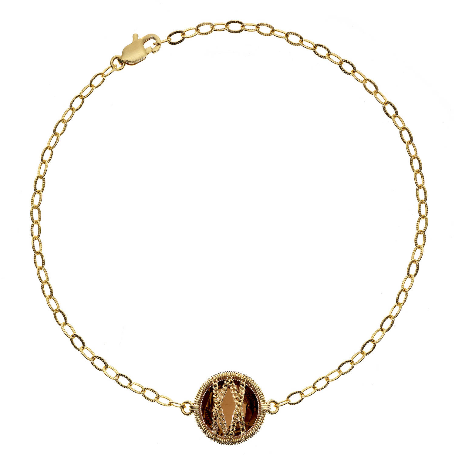 Image of 5th & Main 18kt Gold over Sterling Silver Hand-Wrapped Single Round Smokey Quartz Stone Bracelet
