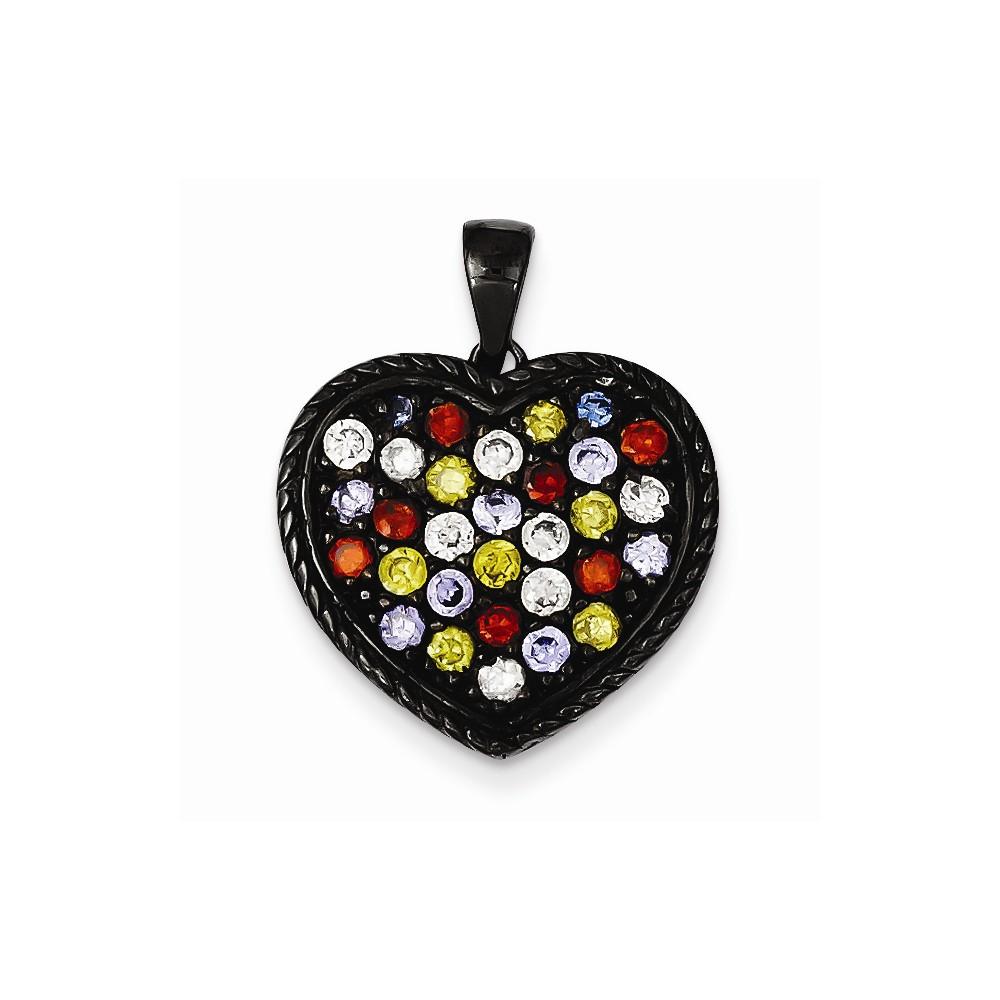 Sterling Silver Fancy Black Rhodium Multi-colored CZ Heart Pendant