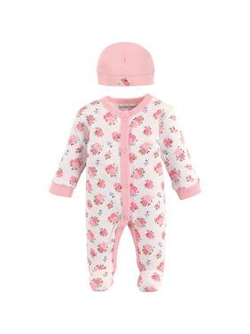 Luvable Friends Baby Girl Sleep N Play & Cap Set, 2pc
