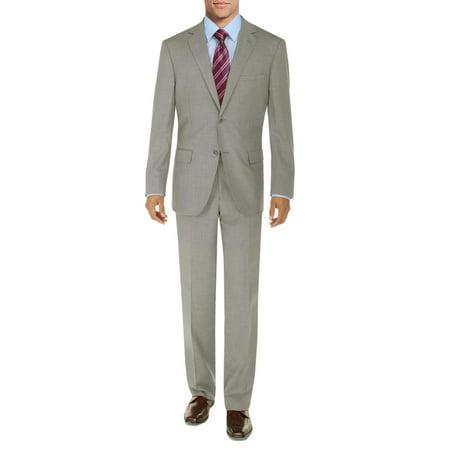 DTI BB Signature Men's Suit 2 Button Modern Fit Side Vent Jacket Flat Front Pant Sand
