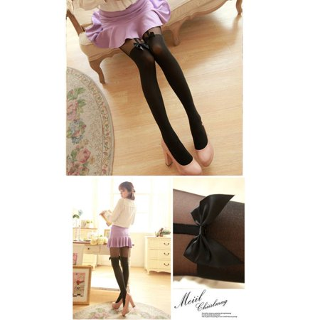 Bow Sheer Stockings (EFINNY Women Sexy Stockings Thin Tights Bow Pantyhose Tattoo Suspender Sheer Pantyhose)