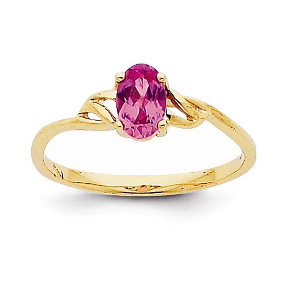 14k Pink Tourmaline Birthstone Ring by
