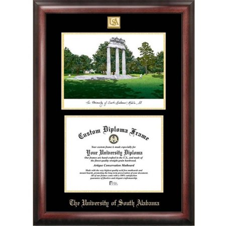 """University of South Alabama 8.5"""" x 11"""" Gold Embossed Diploma Frame with Campus Images Lithograph"""