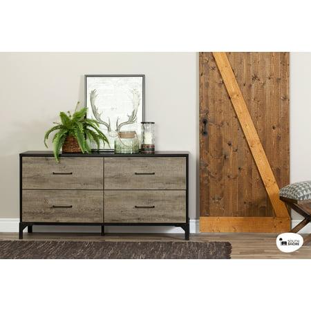 South Shore Valet 4-Drawer Double Dresser, Weathered Oak and Ebony
