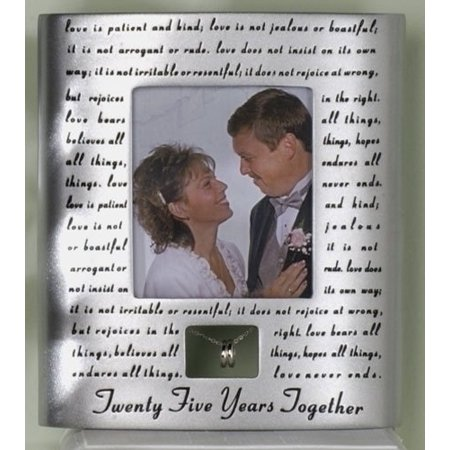 Roman 25th Silver Wedding Anniversary Picture Photo Frame - 25th Anniversary Silver
