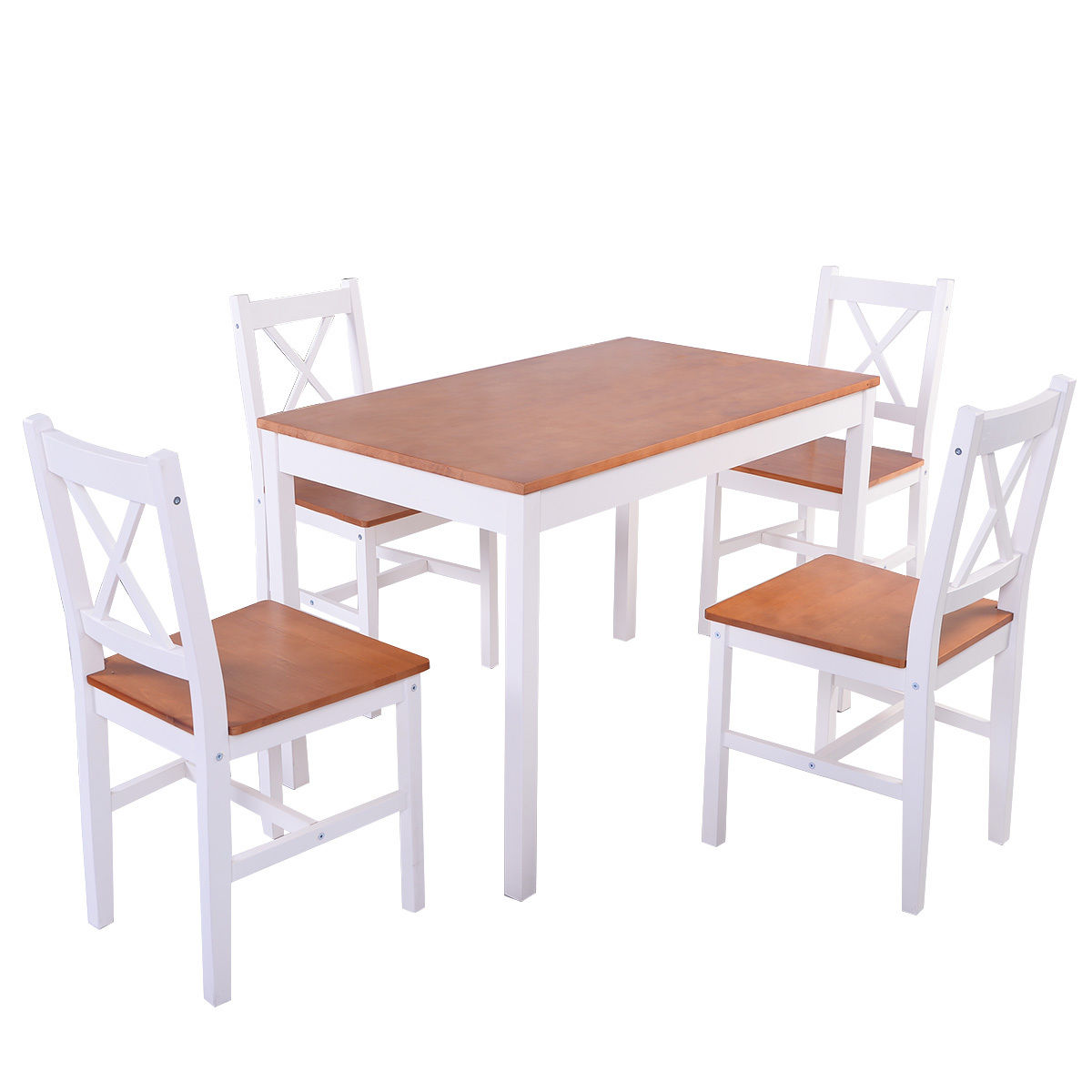 Costway 5PCS Pine Wood Dinette Dining Room Set Table and 4 Chairs Home Kitchen Furniture by Costway