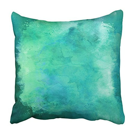 ARHOME Watercolour Blue and Green Aqua Teal Turquoise Watercolor Color Water Pillowcase Cushion Cover 20x20 inch