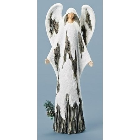 """15.5"""" Brown and White Holy Angel Christmas Tabletop Figure"""