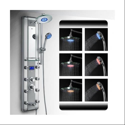 AK 5333D 51 Aluminum Shower Panel Tower LED Rainfall System
