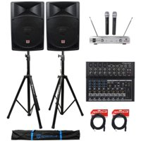 "(2) Rockville RPG15 15"" 2000w Active PA/DJ Speakers+Mixer+Mic+Stands+Cables+Bag"