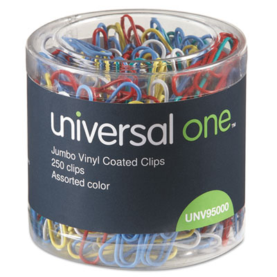 Vinyl-Coated Wire Paper Clips, Jumbo, Assorted Colors, 250/Pack, Sold as 1 Package, 250 Each per Package