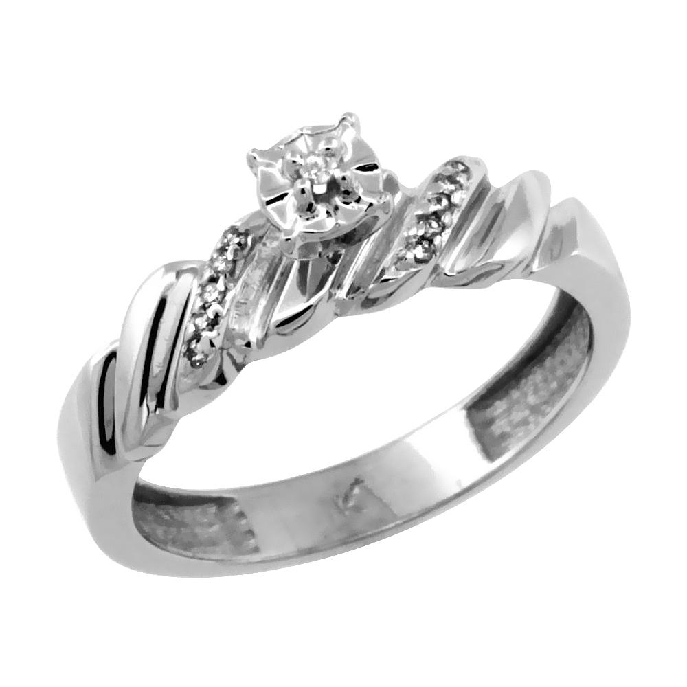 WorldJewels 10k White Gold Diamond Engagement Ring w/ 0.0...
