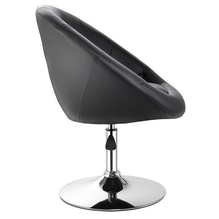 Gymax PU Leather Adjustable Modern Chair Swivel Round Tufted Back Black - image 6 de 10