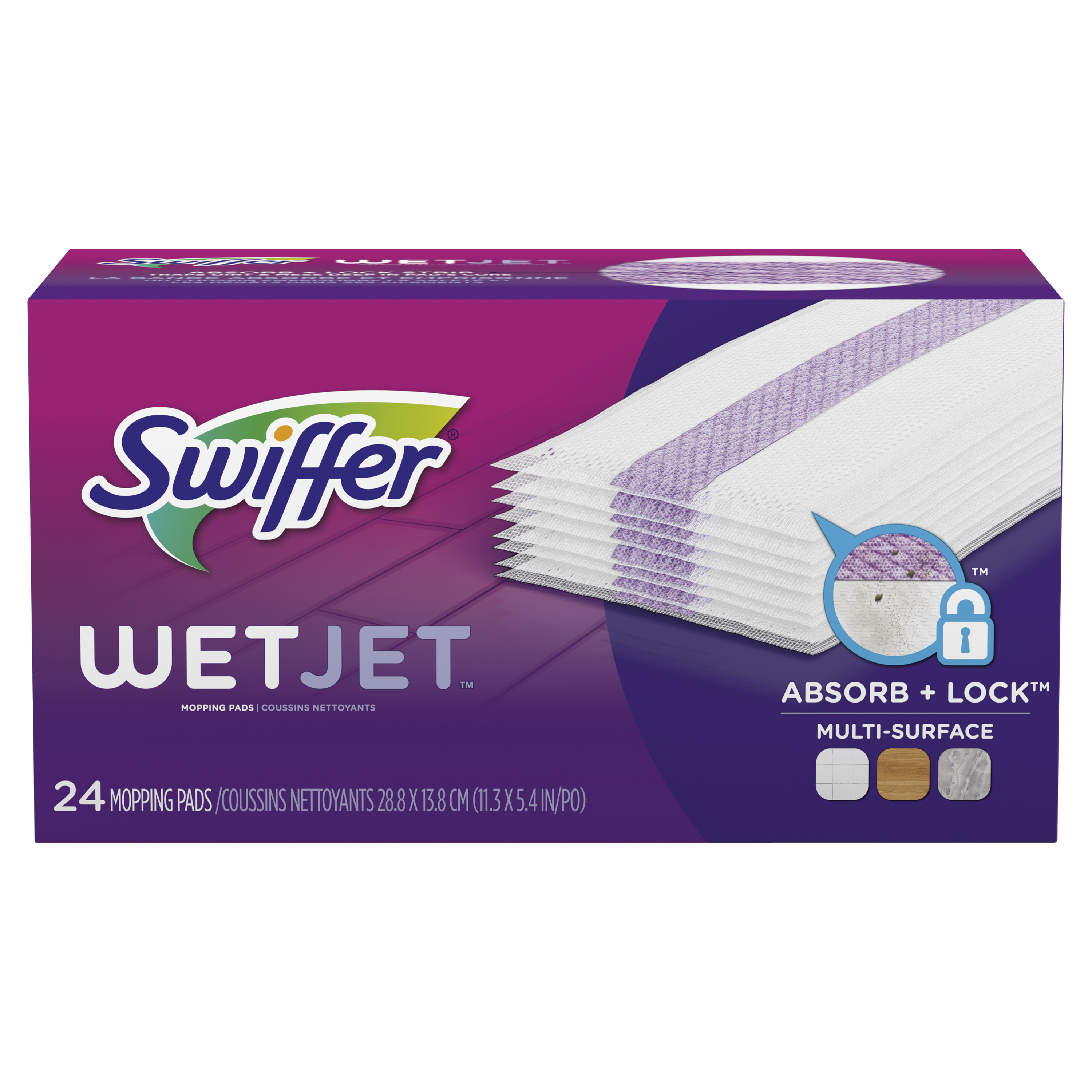 Swiffer WetJet Multi Surface Floor Cleaner Spray Mop Pad Refill, 24 count
