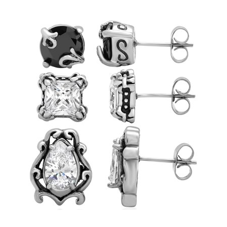 Women's Stainless Steel Dainty 3pc. Stud Earring - Akoya Womens Earring