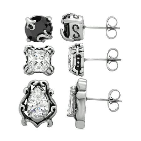 Women's Stainless Steel Dainty 3pc. Stud Earring