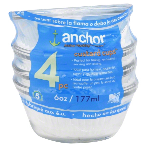 Anchor Hocking Clear Glass Custard Cup, 4 Piece