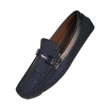 Amali Mens Metallic and Black Speckled Driving Shoe, Comfort Dress Driver Loafer, Style Brogan & Quint Available in White and Royal Blue
