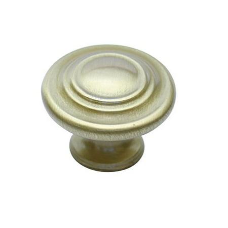 1/4 Inch Modern Brass Knob - Hamilton Bowes Satin Brass Cabinet Hardware Circles Round Knob 1-1/4