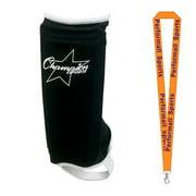 Champion Sports Bundle: (1-Pair) Sock Type Adult Size Shinguard Black / White with 1 Performall Lanyard SHA-1P