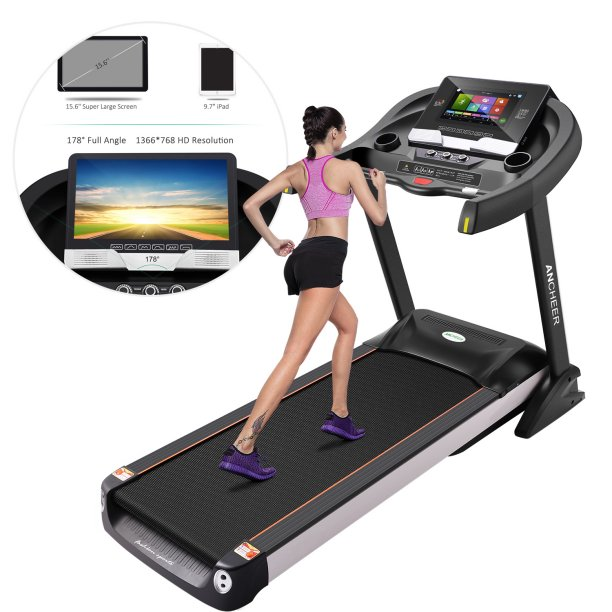 Ancheer W5208 5.0HP Treadmill, Home Gym Treadmill with 15.6 inch Color Touchscreen