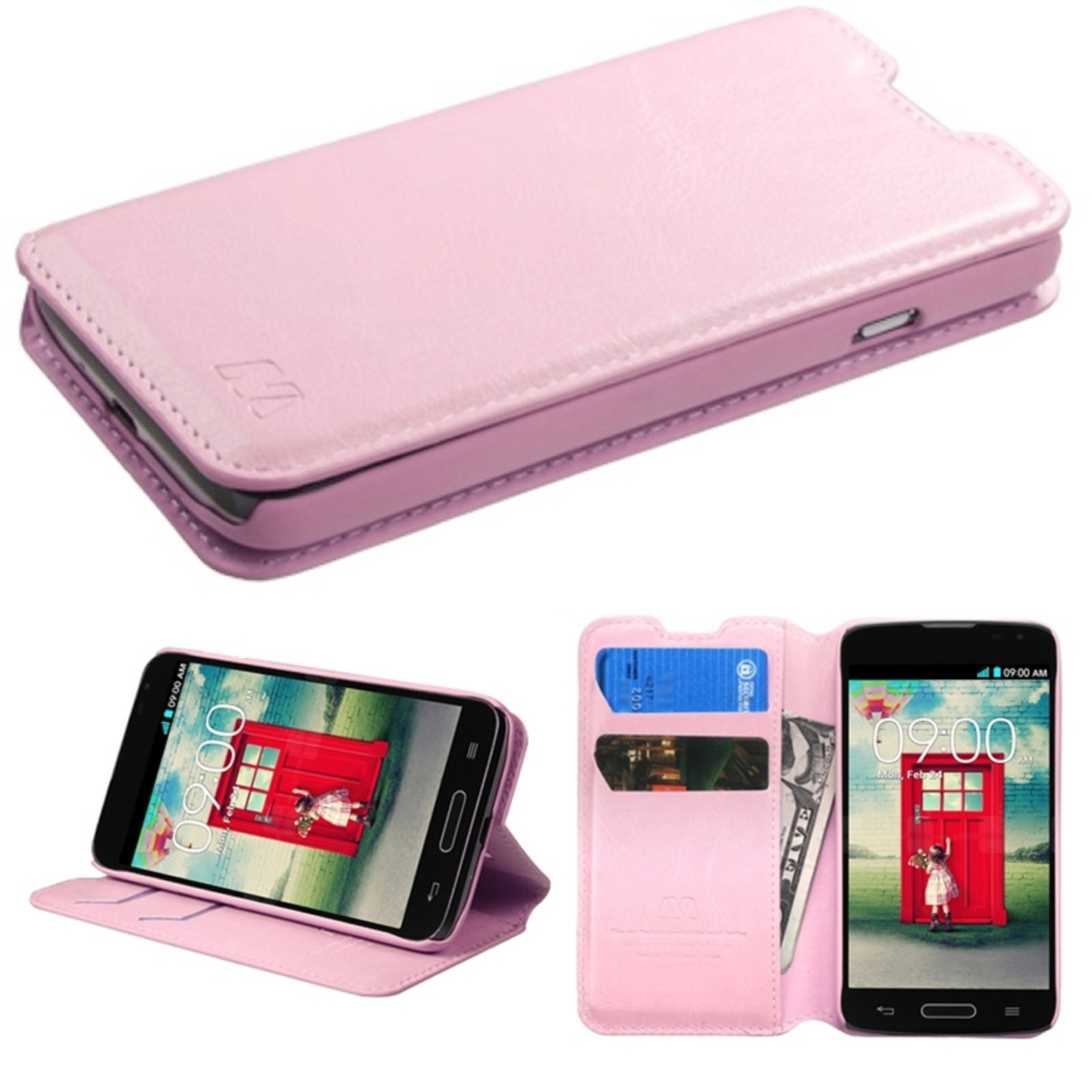 Insten Pink Leather Wallet Protective Case w/ Tray For LG Optimus L70 Optimus Exceed 2 Dual D325