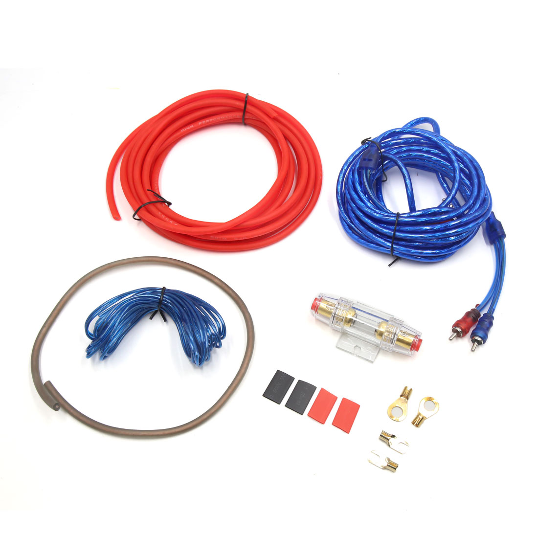 4.5-5m Audio Subwoofer 10 Gauge Amplifier Wiring Kit RCA Power Cable for Vehicle