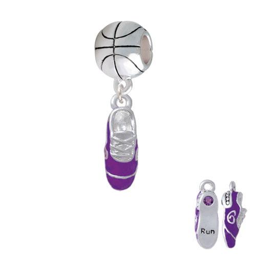 3-D Purple Running Shoe - Basketball Charm Bead