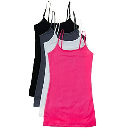 Essential Basic Women Value Pack Deal Cami Tanks Adjustable Spagetti Strap Many Colors - Small to 3XL Red Black Womens Tank Top