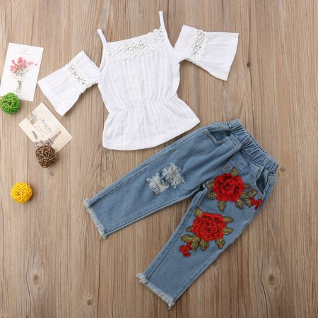 Fashion Toddler Kids Baby Girls Lace Tops Denim Pants Outfits Children 2Pcs Clothes Set