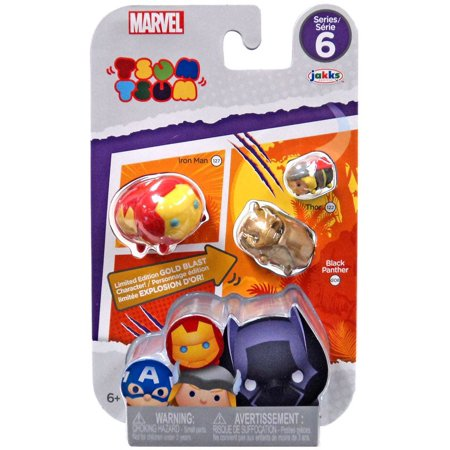 Marvel Tsum Tsum Series 6 Iron Man, Black Panther & Thor Minifigure - Ironman And Thor