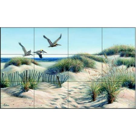 Ceramic Tile Mural - Pelican Trio - by Mary Erickson - Kitchen backsplash / Bathroom shower Accent Ceramic Tile Mural Art